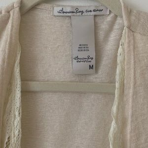 American Rag Sweaters - AMERICAN RAG cardigan w/lace down the front & back